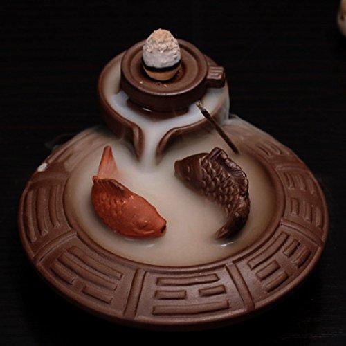 Jeteven Ceramic Fish Backflow Incense Burner, Incense Cones Sticks Holder, Ideal for Yoga Room, Home Decoration & Handicraft Gift