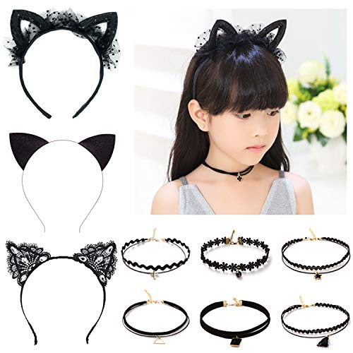 Elesa Miracle 9pcs Little Girl Black Cat Ear Hair Hoop and Lace Choker Necklace Vintage Kids Gothic Tattoo Lolita Lace Choker Value Set (Cheap Tattoo Choker)