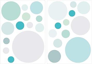 Dekodino Wandtattoo Kinderzimmer Wandsticker Set Pastell Kreise In Zarten Blau Und Grun Amazon De Baumarkt