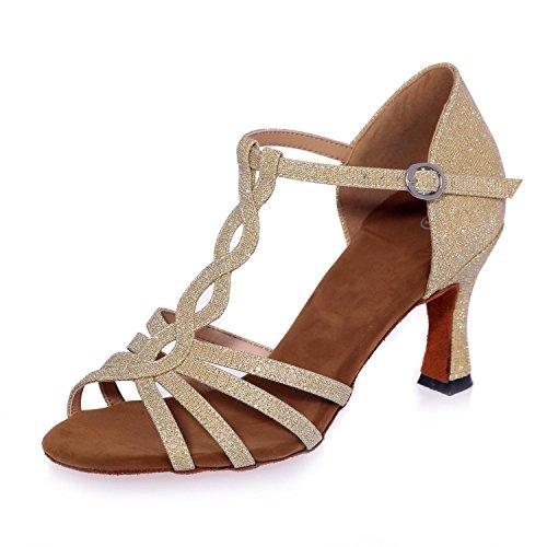 L@YC Frauen Tanzen Sandalen Mit 7,5 Cm Kunstleder Zehe Tanzschuhe / Multi-Color Gold