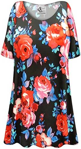 Black Floral Slinky Plus Size Supersize Extra Long A-Line Top