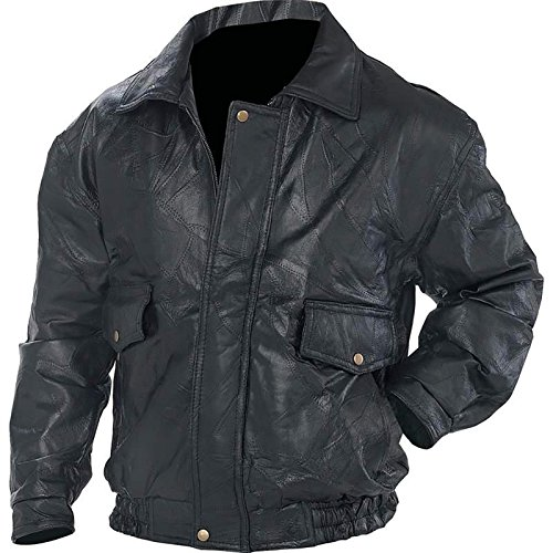 Leather Genuine Bomber Jacket - Biker Bomber Jacket Genuine Leather Motorcycle Flight Coat Lined (XL)