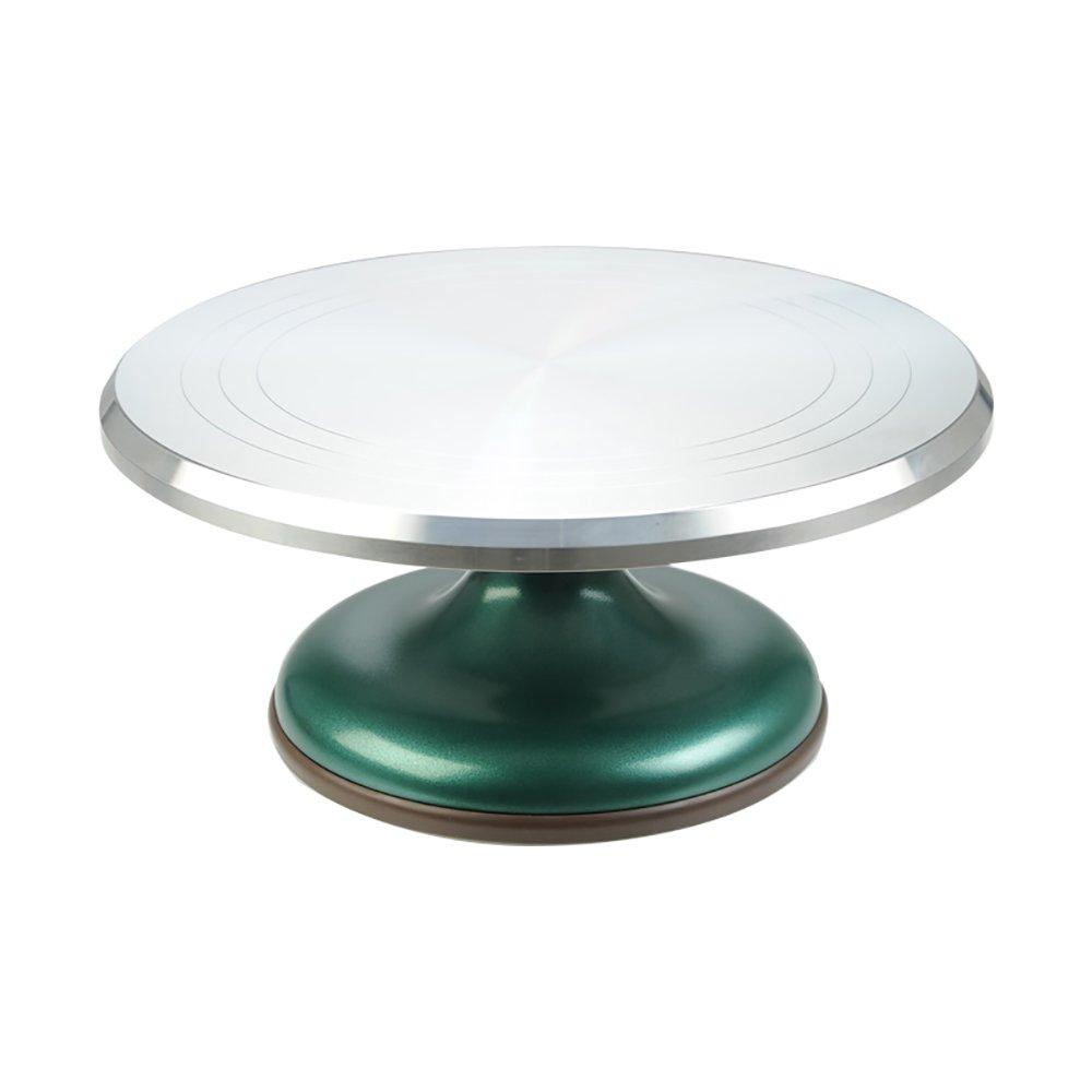 SANNENG 12インチ回転ケーキスタンド DIY手作りベーキング用品 ケーキデコレーション用品 回転テーブル アルミニウム合金 シルバー   B07D7TDYWY
