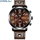 Axiba Men's Multi-Function Six Needles Chronograph Leather Strap Run Sports Watch (B)