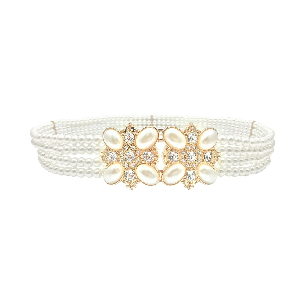 Ya Jin Elegant White Pearls Rhinestones Elastic Belt Chain Belt Interlocking Buckle for Women Dress