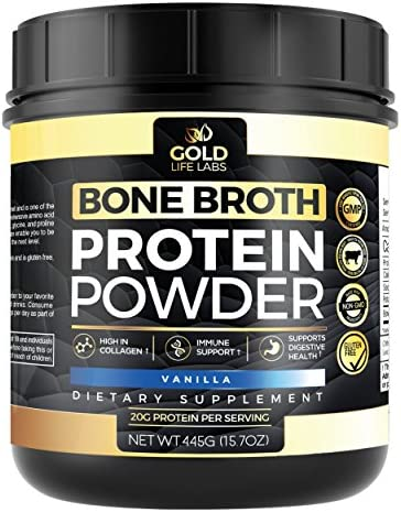 Bone Broth Protein Powder Vanilla – Grass Fed Beef 20 Servings 445g 15.7oz – Gluten Free Great For Paleo Diet – Bone Broth Powder Supports Digestive Immune Health – Made In USA
