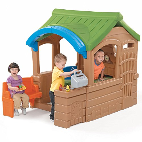Step2 Gather and Grille Playhouse for Toddler - Durable Home Cottage with Built-In Grill and Accessory Set