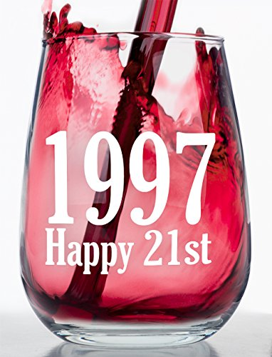 Chardonnay Wine Club - 1997 - Happy 21st Birthday - Stemless Wine Glass (1997)