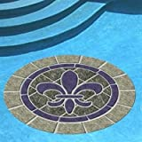 Fleur De Lis Stone Pool Mat, 29 Inches, Vinyl, All Weather, Works in Any Pool