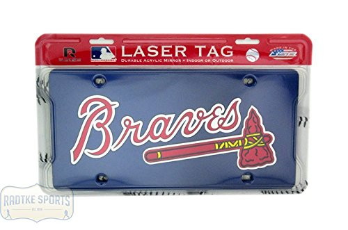 - Atlanta Braves Officially Licensed MLB Mirror Laser Tag License Plate - Blue