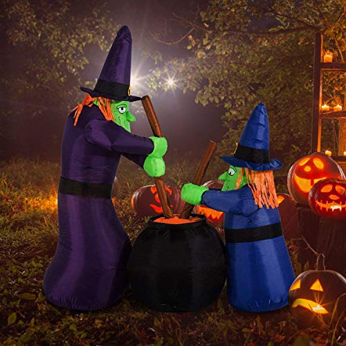 Kemper King 6 Foot Halloween Inflatable Airblown Double Witches with Bubbling Cauldron Lighted for Yard Garden Indoor and Outdoor Decoration ()