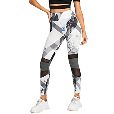 feb21c8a9be11 Amazon.com: Women Sport Leggings Tummy Control High Waist Stretch Mesh  Tights Printed Workout Yoga Pants: Clothing