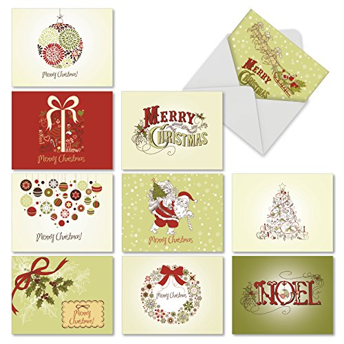 Technology Christmas Quotes - M6646XSG AVOCADO GREEN CHRISTMAS: 10 Assorted Christmas Note Cards: Assorted Christmas Notecards With Envelopes.