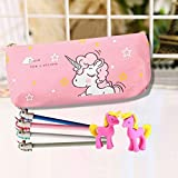 BHYGJ Unicorn Canvas Pencil Case School Stationery, Suitable For Students, Teenagers And Girls
