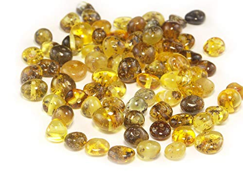 (Green Baltic Amber Beads, Polished Baroque 6-8 mm, 10 grams)