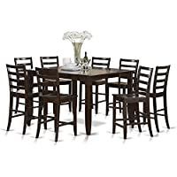 East West Furniture FAIR9-CAP-W 9-Piece Counter Height Table Set