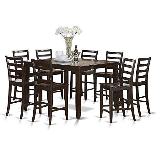 East West Furniture FAIR9-CAP-W 9-Piece Counter Height Table Set (Table Chairs Extendable Dining 6 And Seater)