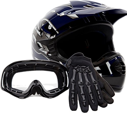 Youth Offroad Gear Combo Helmet Gloves Goggles
