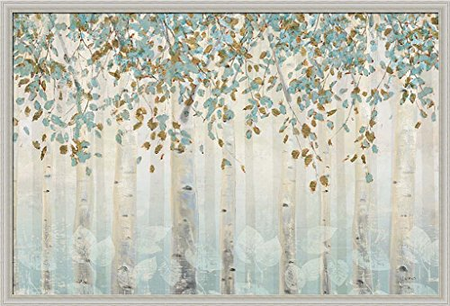 Dream Forest I James Wiens White Birch Trees Teal Gold Art Print Framed Picture