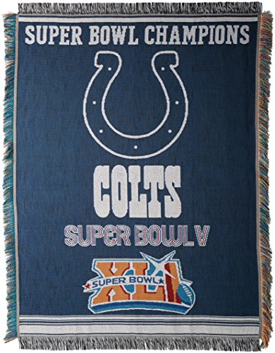 (Officially Licensed NFL Indianapolis Colts Commemorative Woven Tapestry Throw Blanket, 48