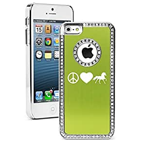 Apple iPhone 5 5s Rhinestone Crystal Bling Hard Case Cover Peace Love Horse (Green)
