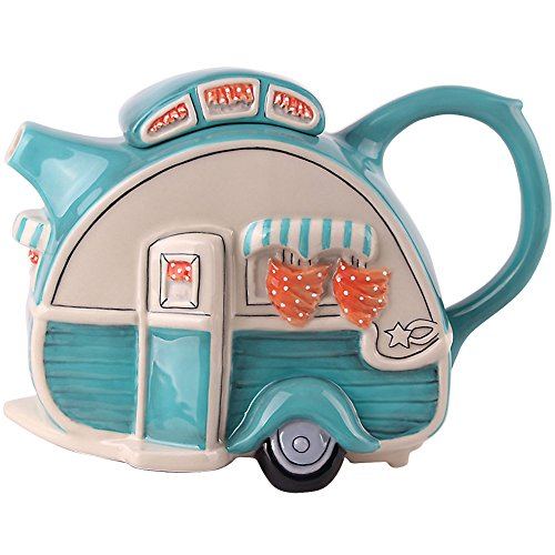 Blue Sky Decorative Handpainted Ceramic Retro Styled Camper Shaped Teapot