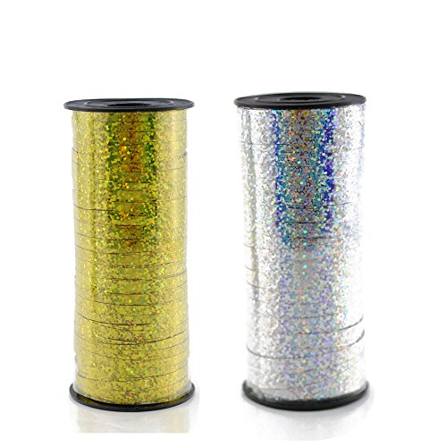 Fyess 2 PCS 100 Yard 5 mm Width Curling Ribbon Roll Metallic Balloon Ribbon String Craft Ribbon for Party Festival Gift Wrapping Florist Crafts and Gift Wrapping(Gold and Silver)