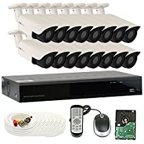 GW Security 2.1 MegaPixel HD 1080P Color Night Vision Security Camera System with 16 Channel DVR and 16 x 1080P Starlight Outdoor / Indoor Bullet Cameras, Quick QR Code Remote Access