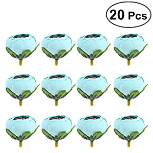TOYANDONA 20 Pcs DIY Artificial Fake Camellia Flowers Heads for Weddings Parties Home Decoration 3.5cm (Lake Blue) 50