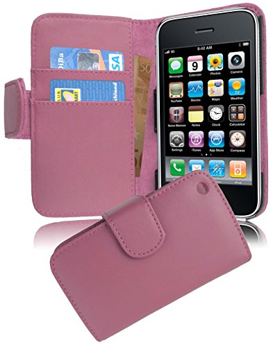 with Apple iPhone 3 / 3G / 3GS in Light Pink (Design Book Smooth) – with 2 Card Slots – Wallet Case Etui Cover Pouch PU Leather Flip ()