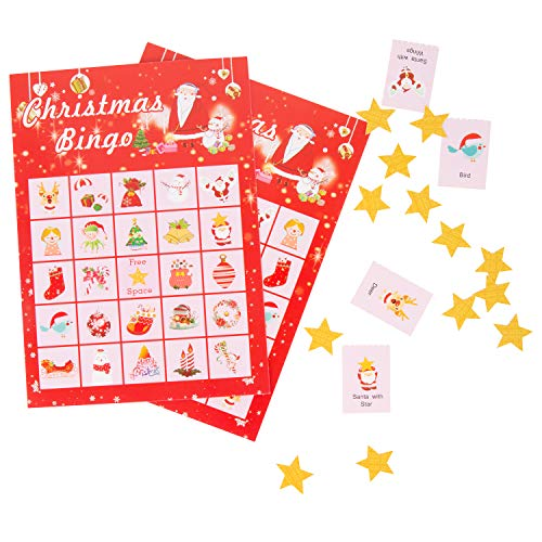 Christmas Bingo Game Holiday Bingo Game for 2-24 Players Chrismtas Party Supplies
