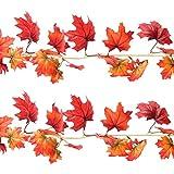 Sunshane 5.9 Feet Fall Garland Artificial Maple Leaf Garland Autumn Thanksgiving Party Room Decoration (2 Pack)