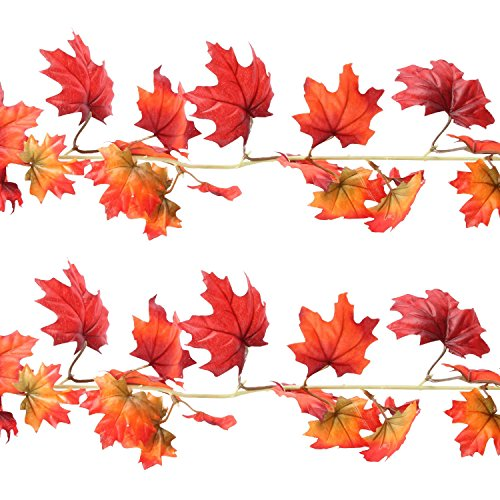 Sunshane 5.9 Feet Fall Garland Artificial Maple Leaf Garland Autumn Thanksgiving Party Room Decoration (2 Pack) by Sunshane