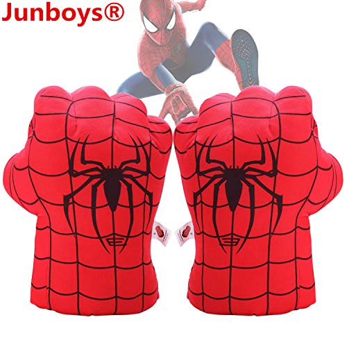 Junboys Plush Kids Boxing Glove Spiderman Toys Super Hero Spider Man Gloves, Smash Hands Fists Super Man Spider, Incredibles Spider-Man Costume Cosplay Dolls for Boys Girls. (1 Pair, Red)