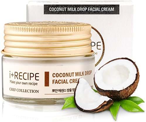 Korean Moisturizer Coconut Milk Drop Facial Cream - I+Recipe - Antioxidant Tone Up Skin Care Night Cream (30 ml)