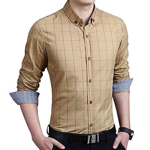 XinnanDe Mens Checked Button Down Plaid Long Sleeve Dress Shirt Khaki XL