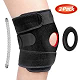 2 Pack Knee Brace Support for Meniscus Tear - Arthritis, ACL, LCL, MCL, Injury Recovery, Sports Exercise, Including 4 Stabilizers, 1 Soft Pad, Non-Slip Straps and Open Patella Design