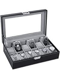 Watch Box Organizer 12 Mens Display Storage Case Metal Hinge Glass Top Black PU Leather Velvet Pillows SSH03B