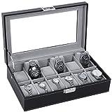 BEWISHOME Watch Box Organizer 12 Men Display Storage Case Metal Hinge Black PU Leather Glass Top SSH03B