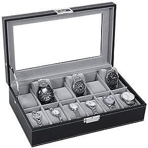 BEWISHOME Watch Box Organizer Men Display Storage Case Metal Hinge Black PU Leather Glass Top Large