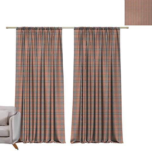 berrly Best Blackout Curtains Plaid,Geometrical Tartan Pattern from Irish and Scottish Cultures Stripes Checks,Salmon Green Brown W84 x L84 Blackout Curtain Set