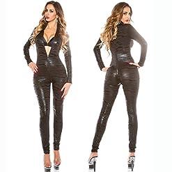 FASHION QUEEN Fashio Queen Women's Sexy Faux Leather Zebra Patterned Bodysuit Zipper to Crotch Catsuit