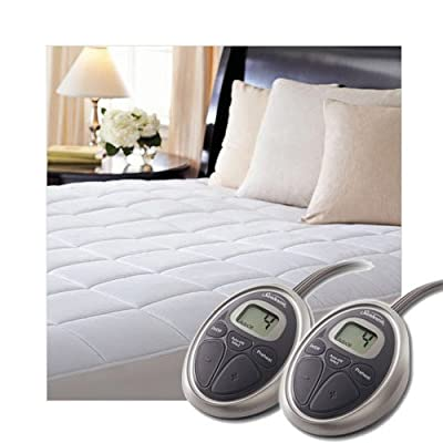 Image of Home and Kitchen Sunbeam Electric Heated KING Mattress Pad Two Controllers, 20 Heat Settings And 100% Quilted Cotton Topper, KING