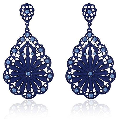 Vintage Earrings, Muranba 1 pair Women Elegant Flower Rhinestone Ear Stud Earrings Hot (Blue)