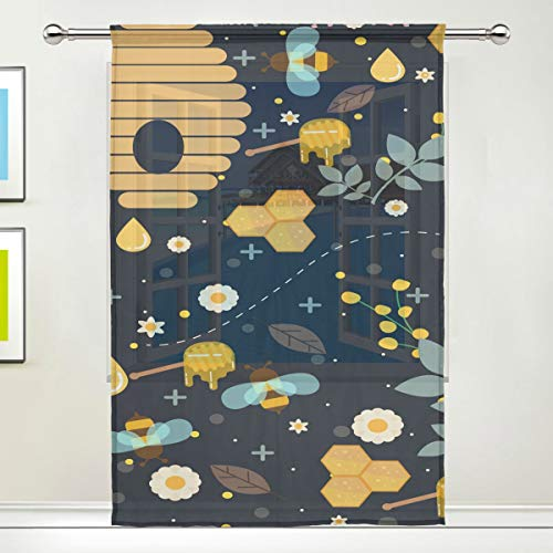 - Honeycomb Bumblebee 78 Inch Sheer Curtains Window Voile Panels for Bedroom & Kitchen