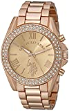 U.S. Polo Assn. USC40037 Reloj dorado rosa de cuarzo con visualización analógica para mujer