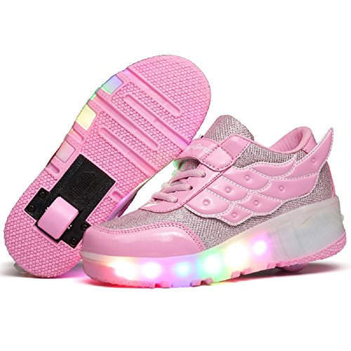 YCOMI Girls Boys LED Roller Shoes with Wheels Roller Skate Sneakers Led Roller Shoes, Pink, 35 M EU/3.5 M US Big Kid ()