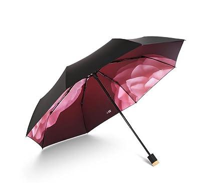Paraguas plegable Sombrilla Protección UV Protector solar patrón de flor juvenil (Color : A)