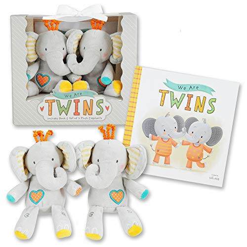 We are Twins – Baby and Toddler Twin Gift Set- Includes Keepsake Book and Set of 2 Plush Elephant Rattles for Boys and…