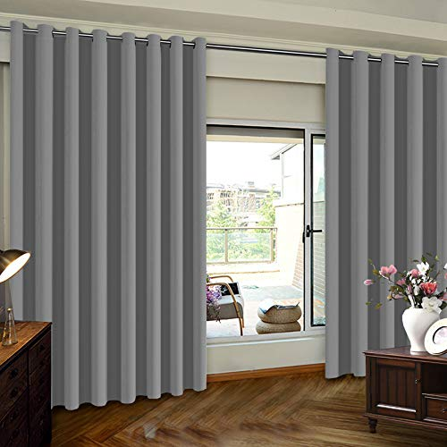 Blackout Curtains for Patio Door Indoor Curtains Light Blocking Extra Long Wide Solid Panel for Living Room / Patio Door Thermal Insulated Panel Premium Room Divider, 8ft Tall, One Panel, Dove Grey